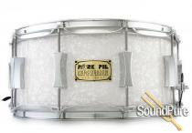 Pork Pie 6x14 Maple Solid Shell Snare Drum-White Marine