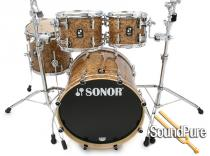 Sonor 4pc Prolite Studio Drum Set-Chocolate Burl