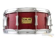 Pork Pie 6x14 Maple Snare Drum-Ruby Glass Glitter