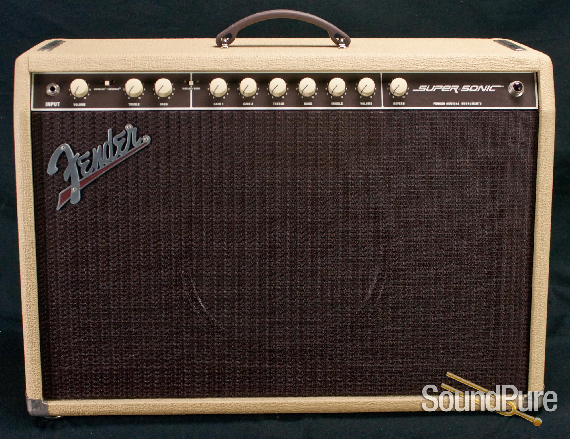 Fender Super Sonic 60w 1x12 Blonde Combo Amp Used Bass Amplifier Luthier Certification For Instruments