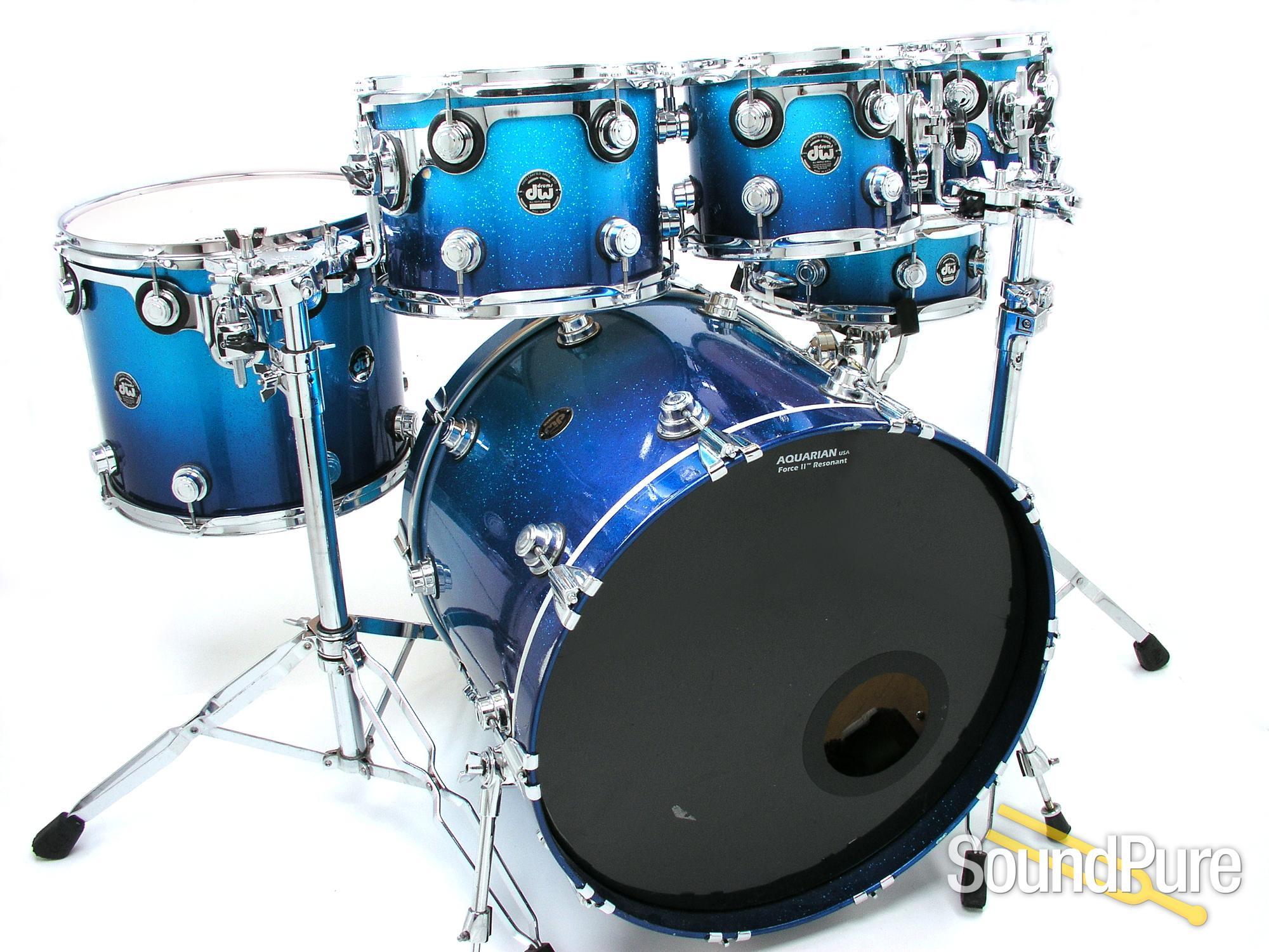 DW 6pc Collectors Series Maple Drum Set Blue Sparkle Fade