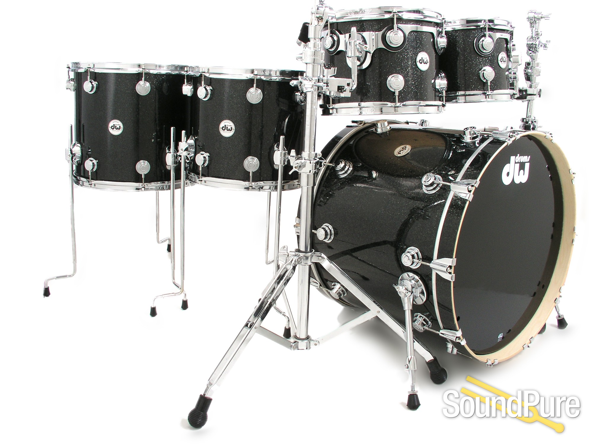 dw 5pc collectors series maple drum set black ice ebay. Black Bedroom Furniture Sets. Home Design Ideas