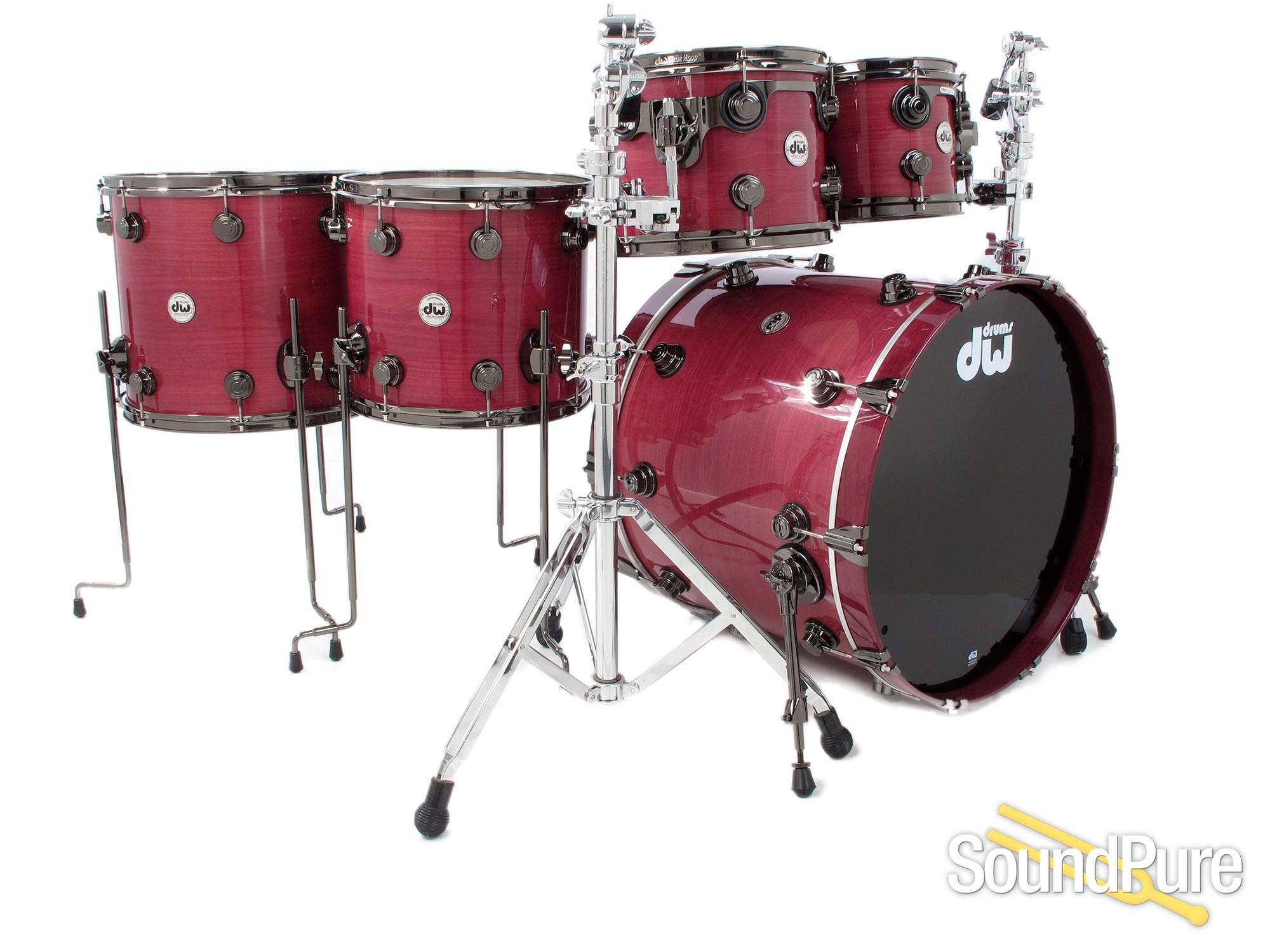 dw 5pc collectors series purpleheart drum setblack nickel