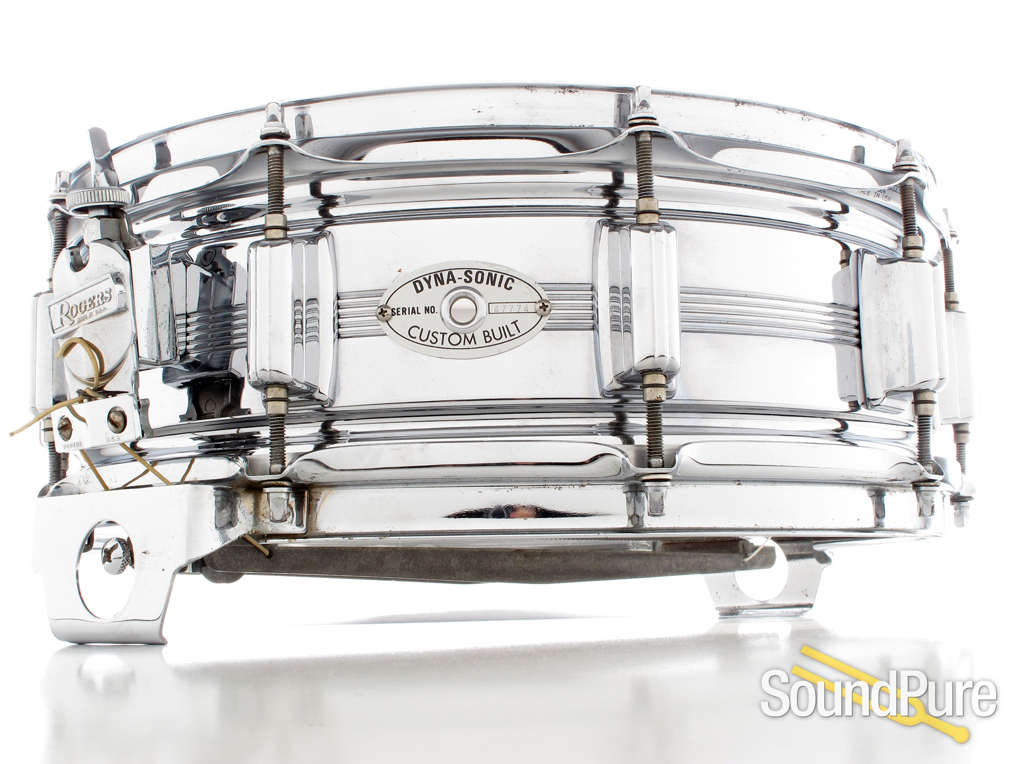Rogers 5x14 5-Line Chrome Over Brass Dynasonic Snare Drum