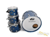 DW 4pc Collectors Maple Drum Set-Silver Blue Sparkle Lacquer