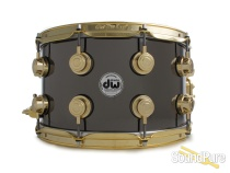 DW 8x14 Collectors Black Nickel over Brass Snare Drum-Gold