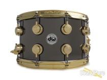DW 8x14 Collectors Black Nickel over Brass Snare Drum-Gold