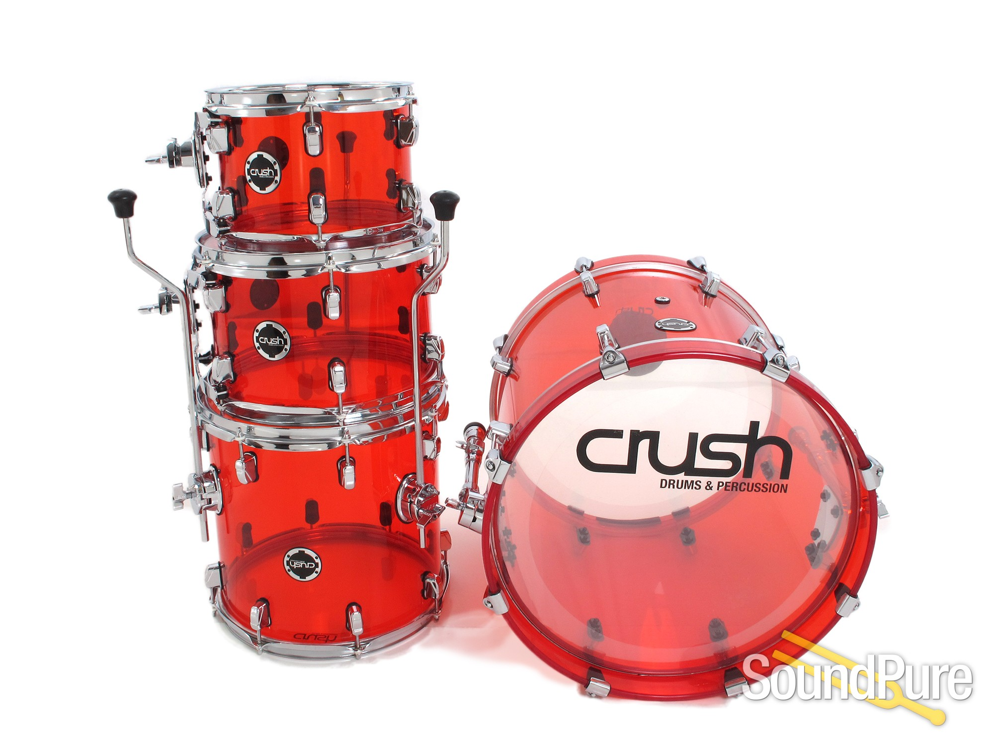 crush drums 4pc acrylic series drum set red used ebay. Black Bedroom Furniture Sets. Home Design Ideas