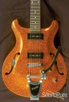 Gadow Custom Setneck Orange Sparkle Semi-Hollow Guitar