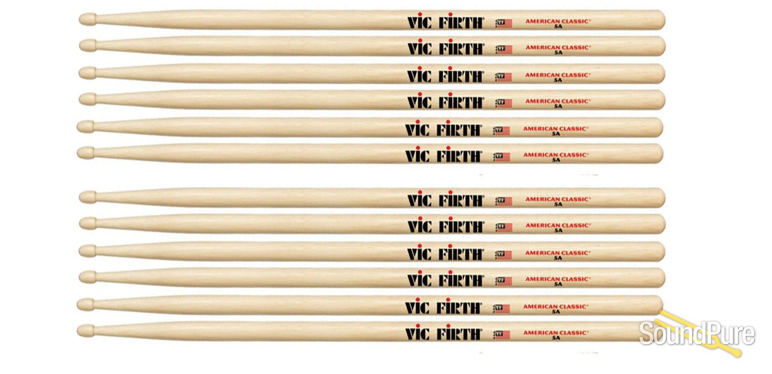 6 Pairs Vic Firth 3A Wood Tip American Classic Hickory Drumsticks