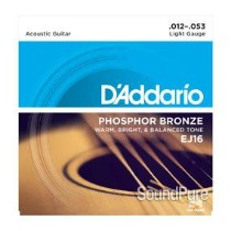 D'Addario EJ16 Phosphor Bronze Light 12-53 Acoustic Strings