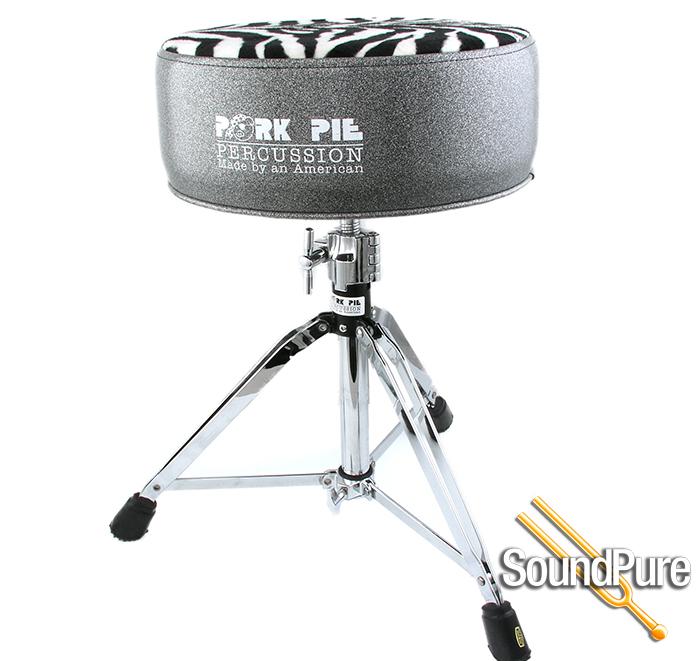pork pie percussion round vinyl drum throne charcoal zebra. Black Bedroom Furniture Sets. Home Design Ideas