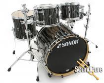 Sonor 4pc Prolite Stage 2 Drum Set-Ebony White Stripes