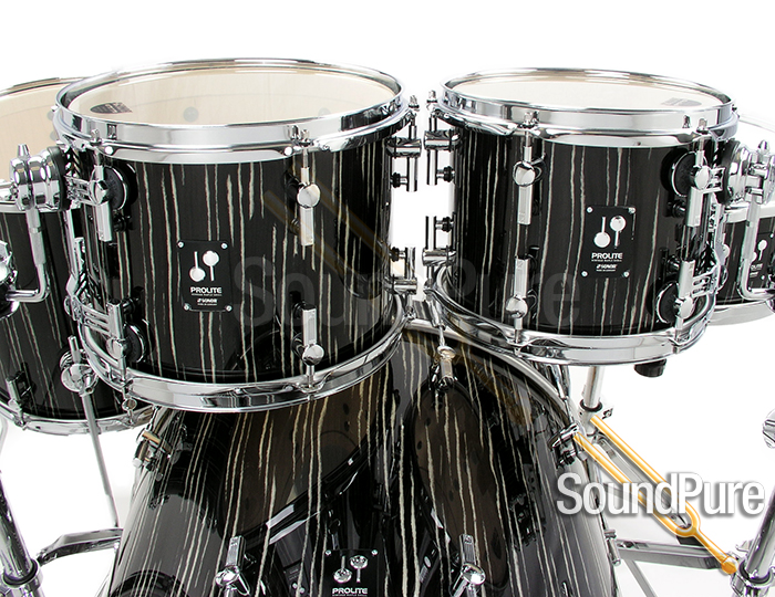 Sonor 4pc Prolite Stage 2 Drum Set-Ebony White Stripes
