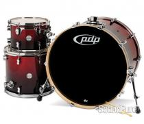 PDP 3pc Concept Maple Drum Set by DW-Red Black Fade