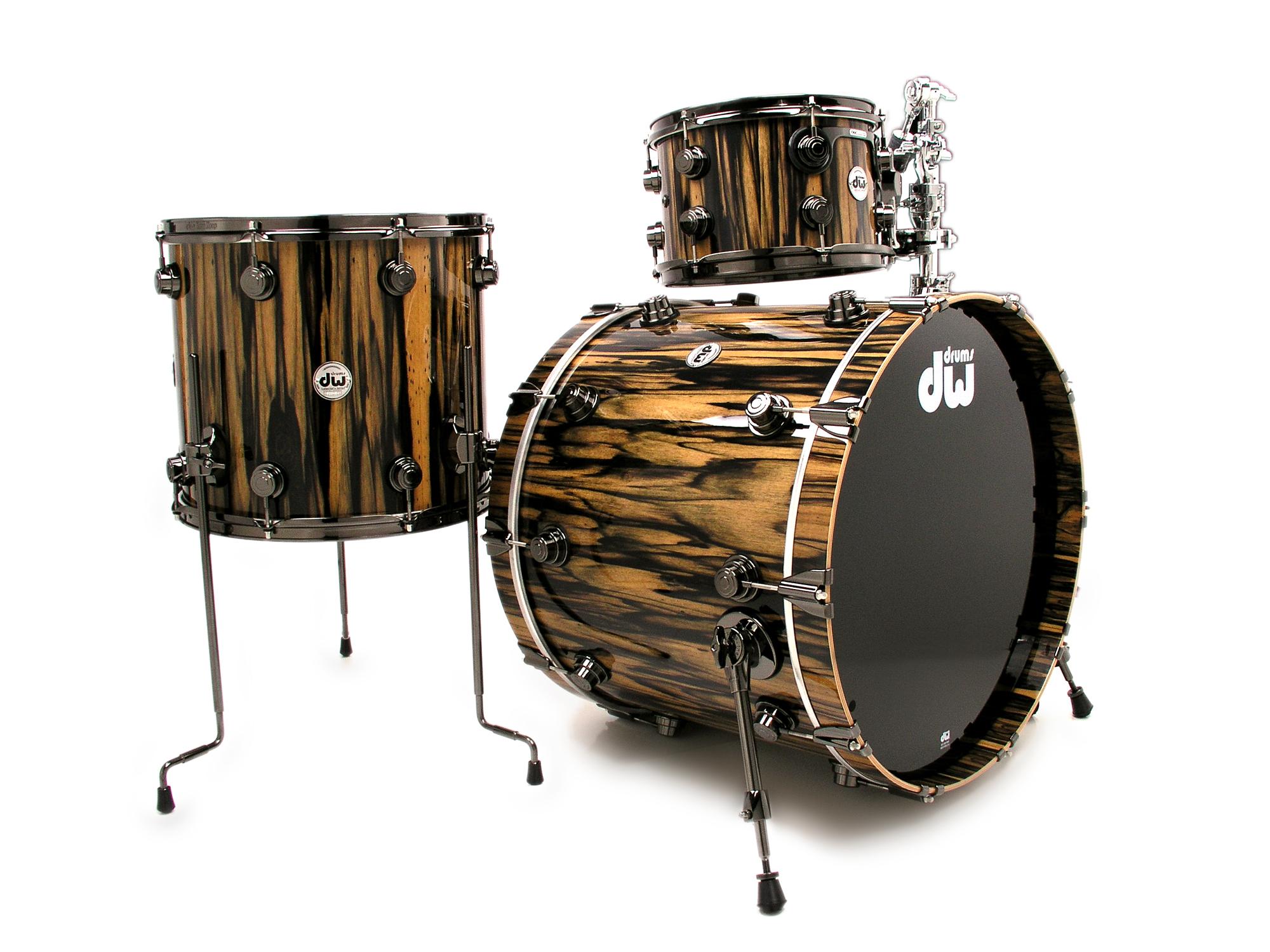 dw 3pc collectors exotic series drum setroyal ebony